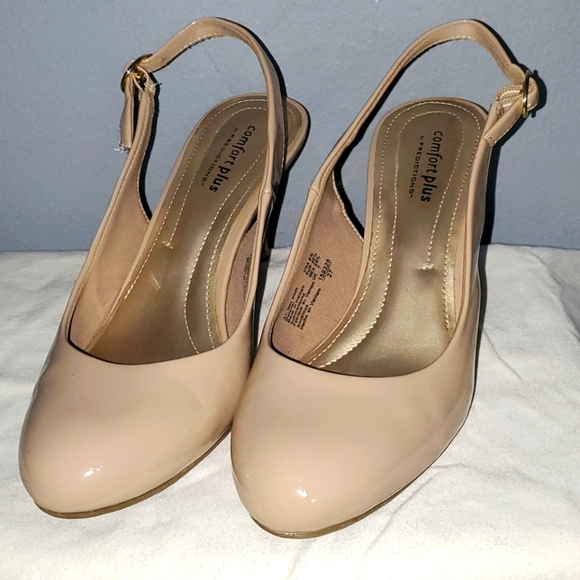 Nude sling back heels